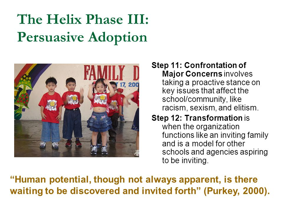 The Helix Phase III: Persuasive Adoption Step 11: Confrontation of Major Concerns involves taking a proactive stance on key issues that affect the sch