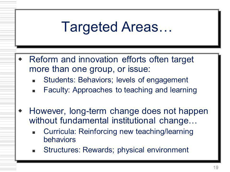 19 Targeted Areas… Reform and innovation efforts often target more than one group, or issue: Students: Behaviors; levels of engagement Faculty: Approa
