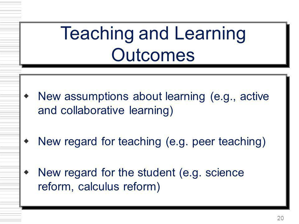 20 New assumptions about learning (e.g., active and collaborative learning) New regard for teaching (e.g. peer teaching) New regard for the student (e
