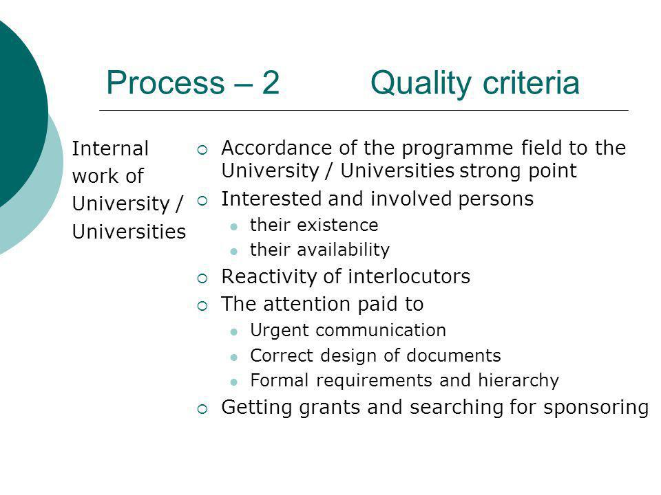 Process – 2 Quality criteria Internal work of University / Universities Accordance of the programme field to the University / Universities strong point Interested and involved persons their existence their availability Reactivity of interlocutors The attention paid to Urgent communication Correct design of documents Formal requirements and hierarchy Getting grants and searching for sponsoring