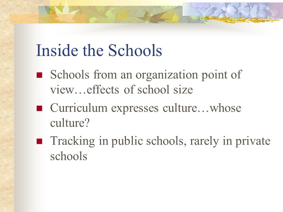 Inside the Schools Schools from an organization point of view…effects of school size Curriculum expresses culture…whose culture? Tracking in public sc