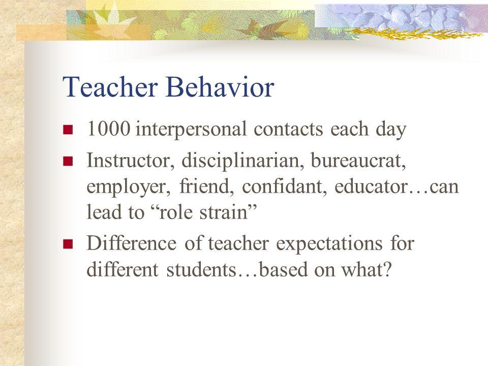 Teacher Behavior 1000 interpersonal contacts each day Instructor, disciplinarian, bureaucrat, employer, friend, confidant, educator…can lead to role s