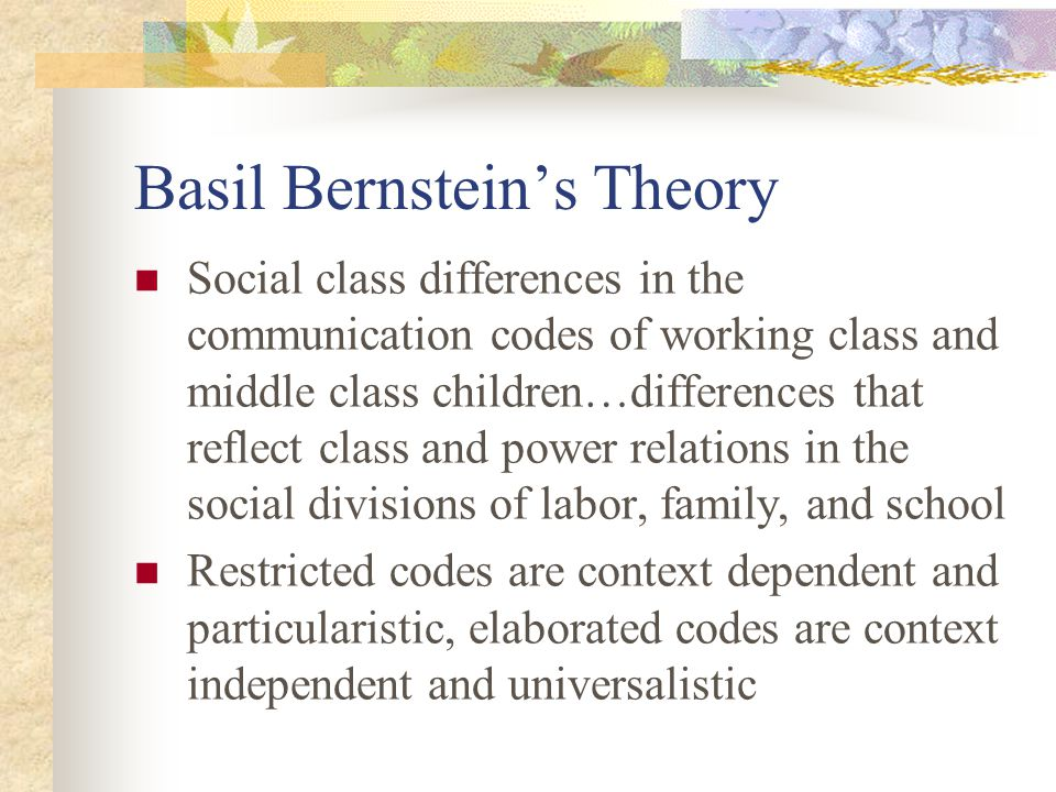 Basil Bernsteins Theory Social class differences in the communication codes of working class and middle class children…differences that reflect class
