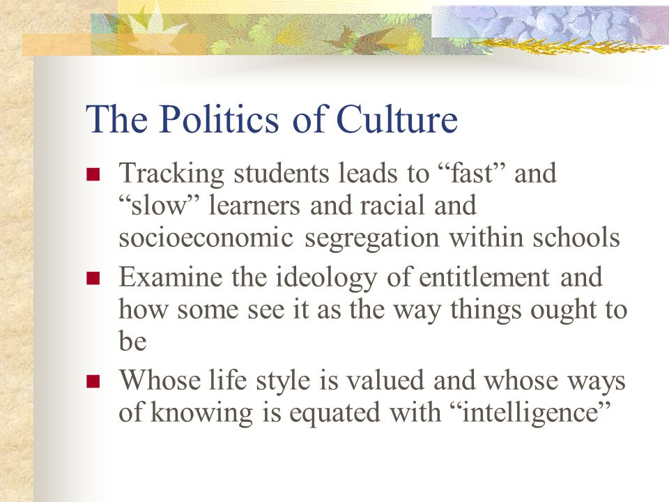 The Politics of Culture Tracking students leads to fast and slow learners and racial and socioeconomic segregation within schools Examine the ideology