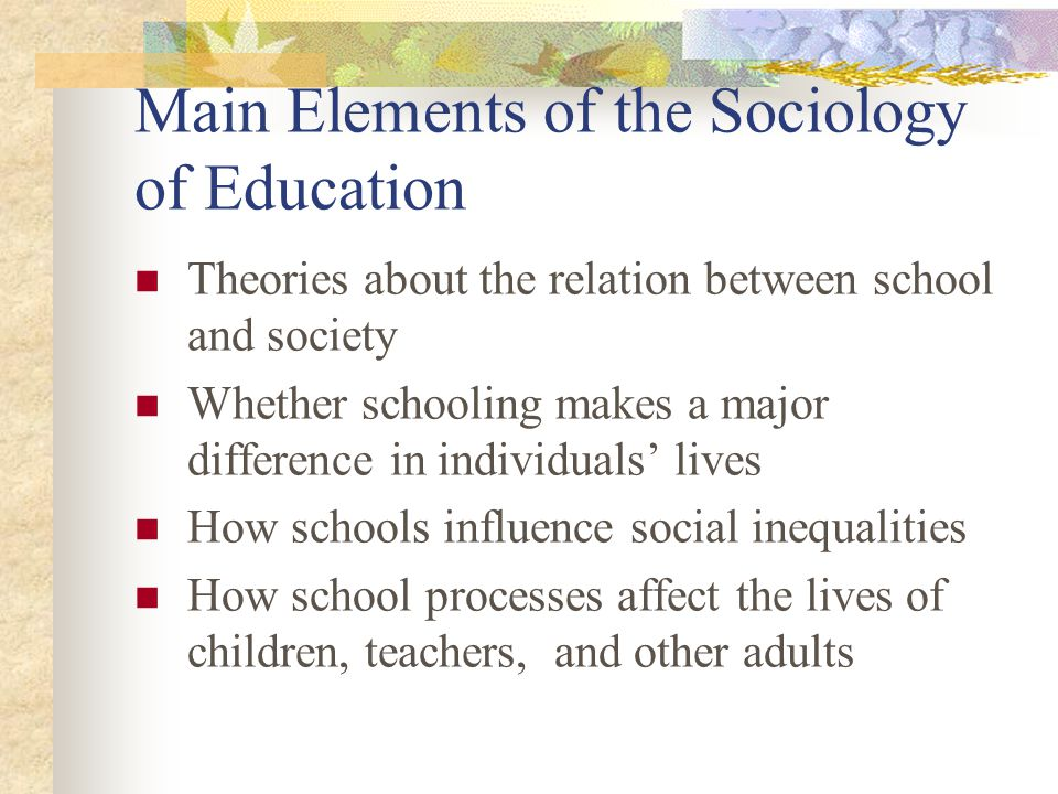 Four Interrelated Levels of Sociological Analysis The Societal level and its system of social stratification The Institutional level, including families, schools, churches etc.