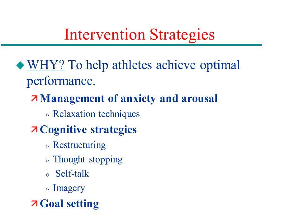 Intervention Strategies u WHY.To help athletes achieve optimal performance.