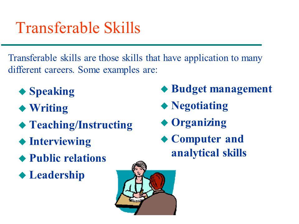 Transferable Skills u Speaking u Writing u Teaching/Instructing u Interviewing u Public relations u Leadership u Budget management u Negotiating u Org