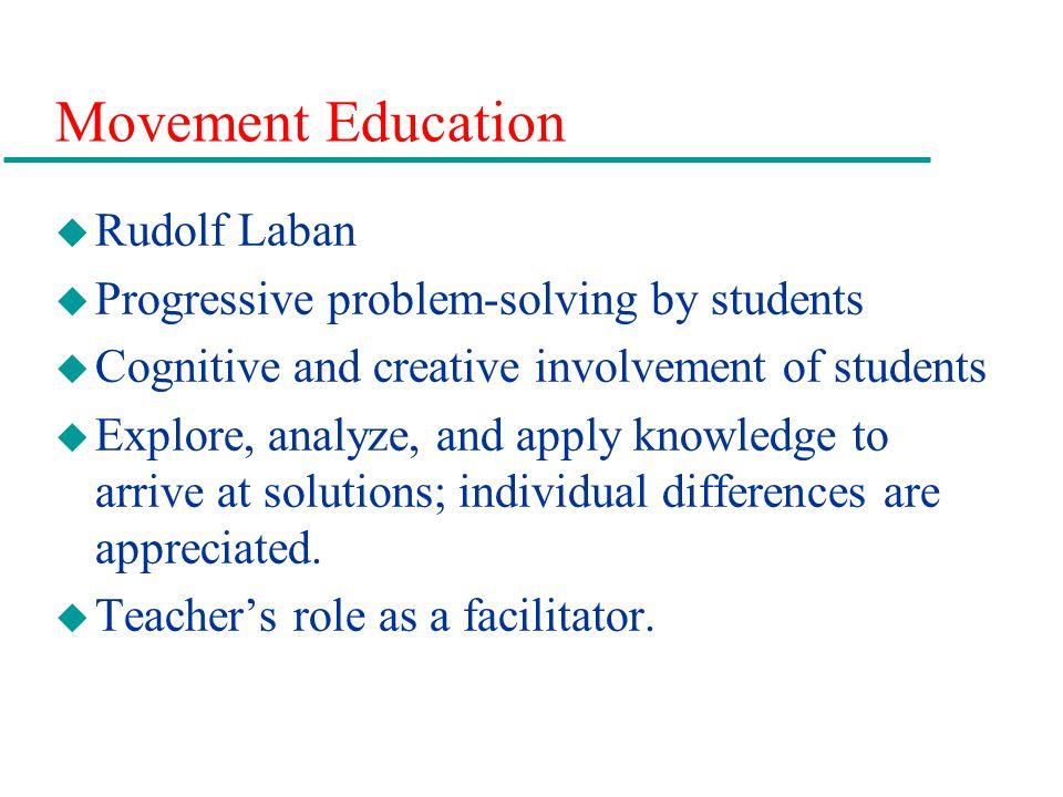 Movement Education u Rudolf Laban u Progressive problem-solving by students u Cognitive and creative involvement of students u Explore, analyze, and a