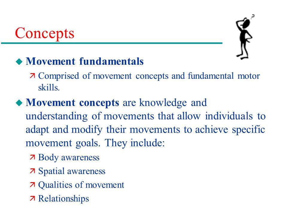 Concepts u Movement fundamentals ä Comprised of movement concepts and fundamental motor skills. u Movement concepts are knowledge and understanding of