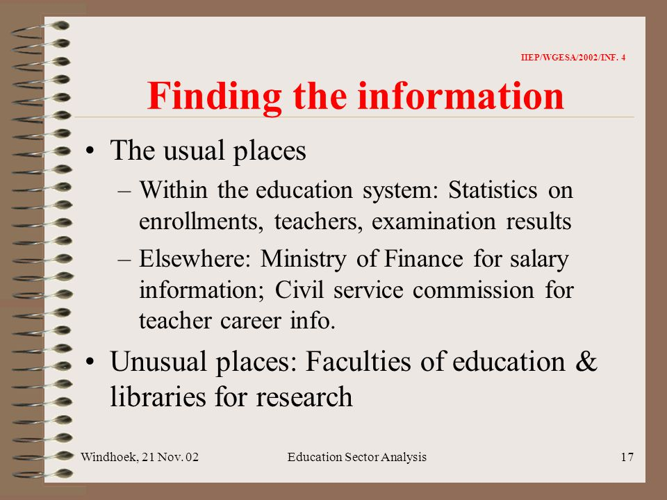 Windhoek, 21 Nov. 02Education Sector Analysis17 IIEP/WGESA/2002/INF.