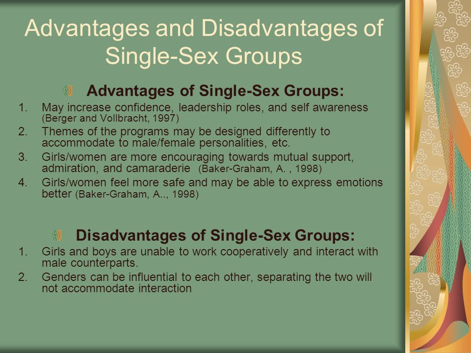 Advantages and Disadvantages of Single-Sex Groups Advantages of Single-Sex Groups: 1.May increase confidence, leadership roles, and self awareness (Berger and Vollbracht, 1997) 2.Themes of the programs may be designed differently to accommodate to male/female personalities, etc.