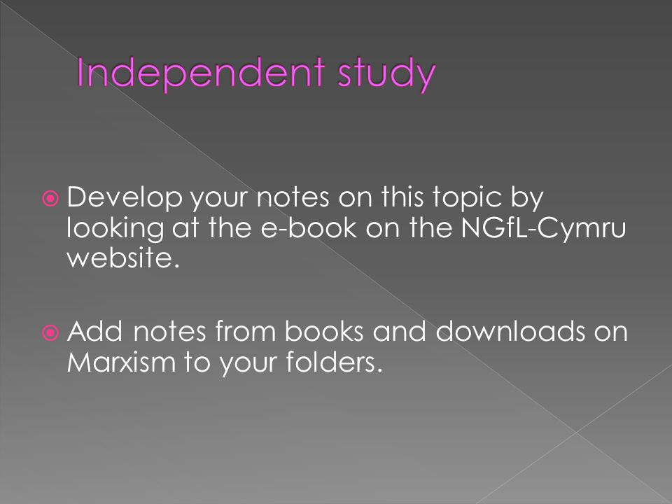 Develop your notes on this topic by looking at the e-book on the NGfL-Cymru website. Add notes from books and downloads on Marxism to your folders.