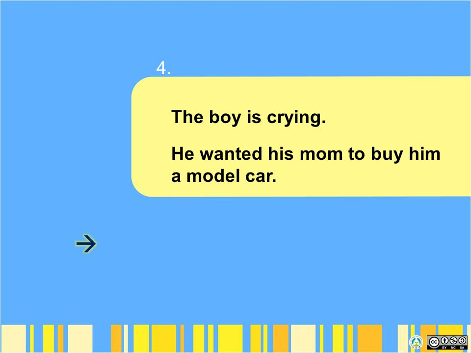 The boy is crying. He wanted his mom to buy him a model car. 4.