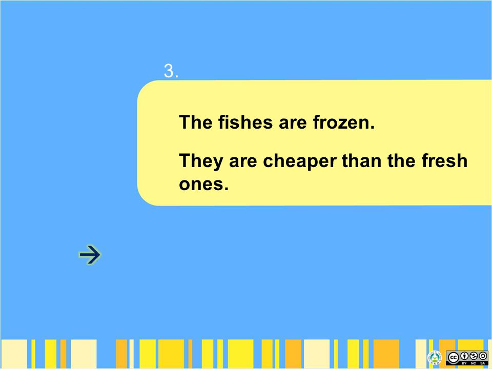 The fishes are frozen. They are cheaper than the fresh ones. 3.