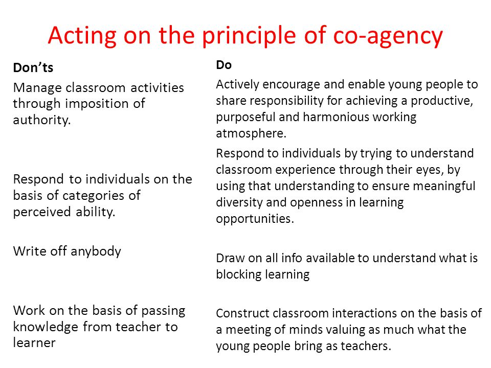 Acting on the principle of co-agency Donts Manage classroom activities through imposition of authority.