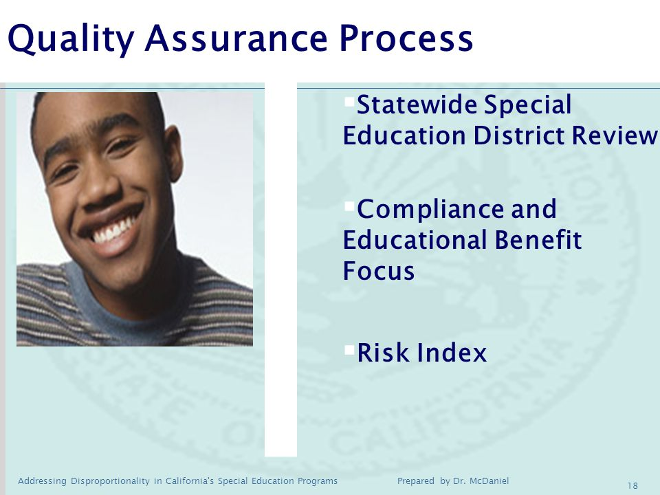 Addressing Disproportionality in California s Special Education Programs Prepared by Dr.