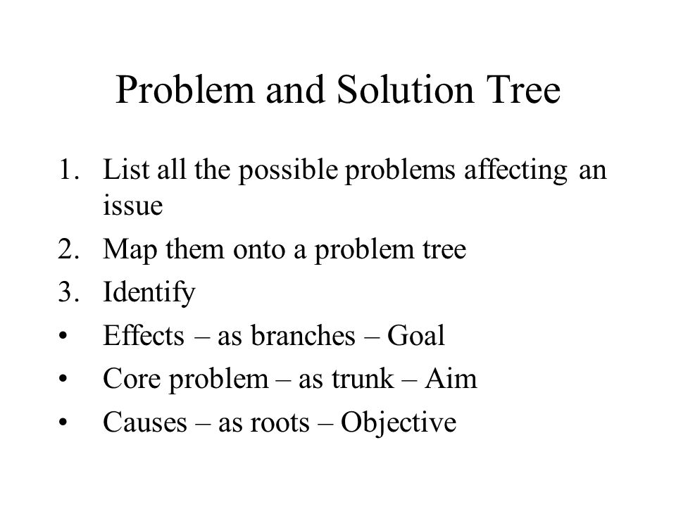Problem and Solution Tree 1.List all the possible problems affecting an issue 2.Map them onto a problem tree 3.Identify Effects – as branches – Goal Core problem – as trunk – Aim Causes – as roots – Objective