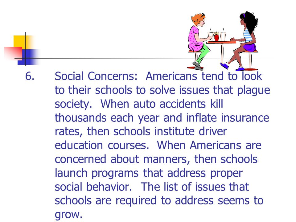 6.Social Concerns: Americans tend to look to their schools to solve issues that plague society. When auto accidents kill thousands each year and infla