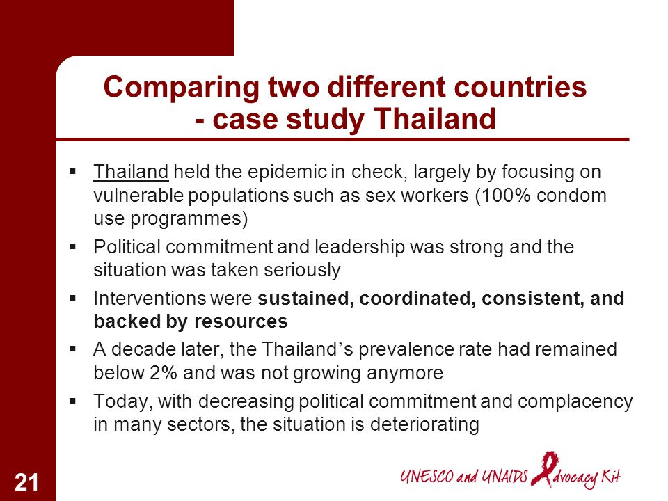 20 Comparing two different countries – case study South Africa At first, South Africa more or less ignored the problem Subsequently, confusing message