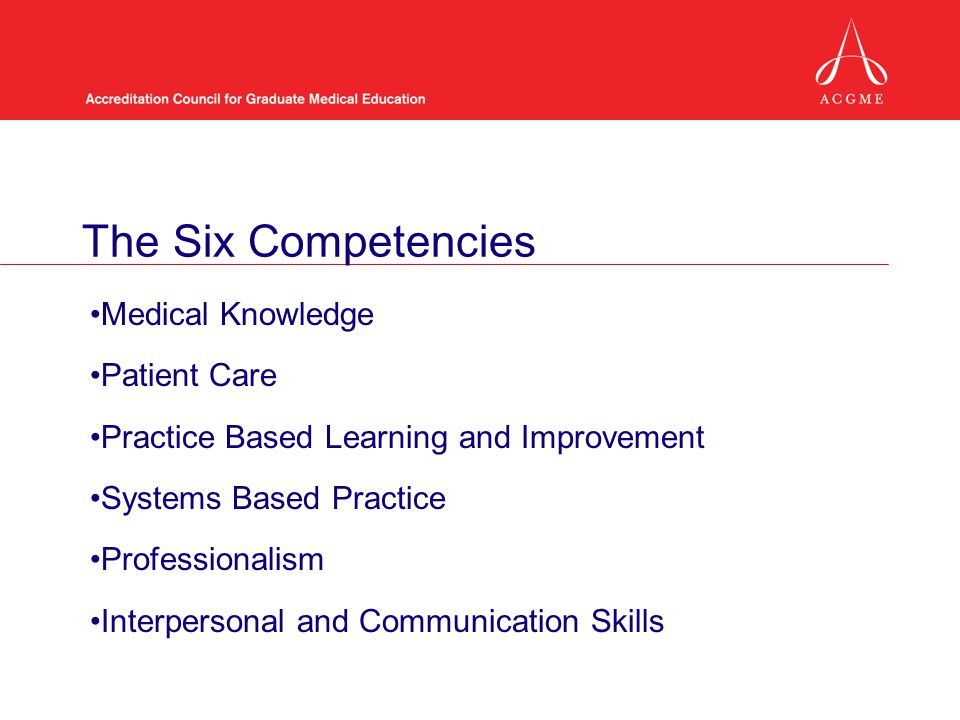 The Six Competencies Medical Knowledge Patient Care Practice Based Learning and Improvement Systems Based Practice Professionalism Interpersonal and Communication Skills