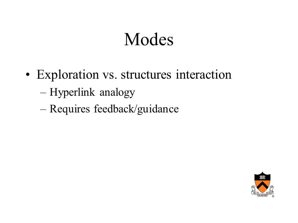 Modes Exploration vs. structures interaction –Hyperlink analogy –Requires feedback/guidance