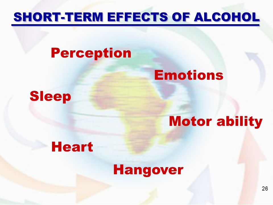 SHORT-TERM EFFECTS OF ALCOHOL Perception Sleep Heart Emotions Motor ability Hangover 26
