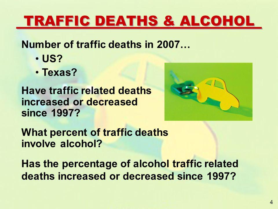 YEARUSTX 199741,9673,510 200741,0593,363 Down 2.2%Down 4.4% TRENDS IN TRAFFIC DEATHS TRAFFIC DEATHS 2007 U.S.
