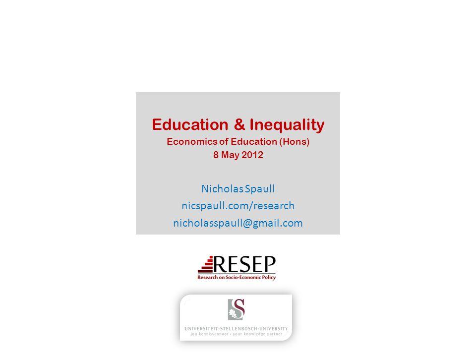 Education Education & Inequality How do we define inequality.