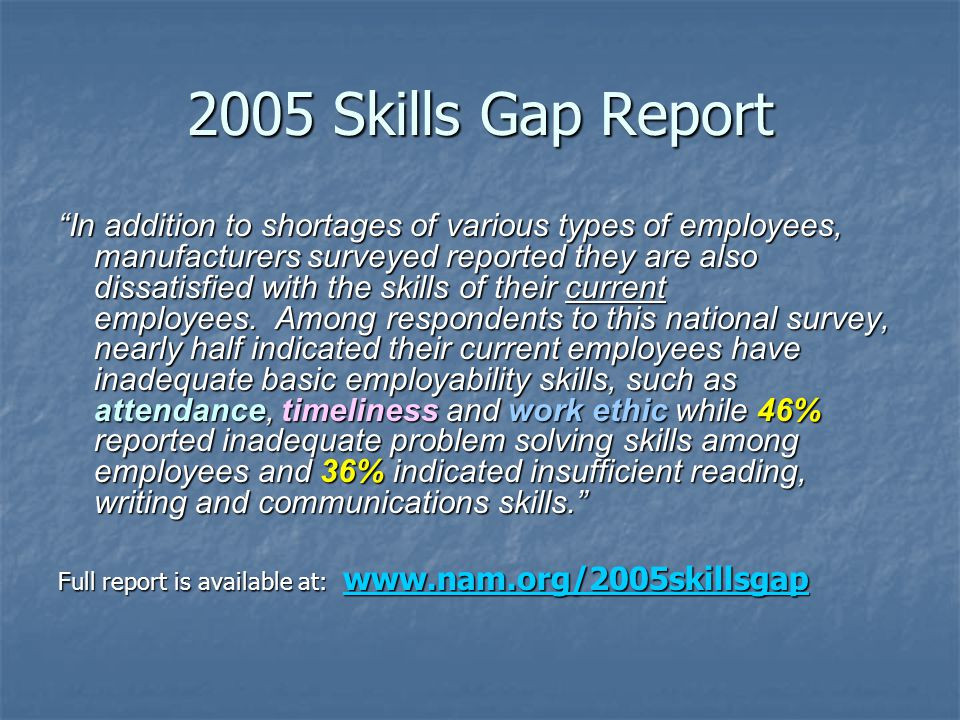 NEED: 40% Of the people in the United States lack the basic skills necessary to obtain or retain employment 40% Of the people in the United States lack the basic skills necessary to obtain or retain employment 42% of Welfare to Work (MFIP) caseloads do not have a high school degree or equivalent (DHS TANF Report) 42% of Welfare to Work (MFIP) caseloads do not have a high school degree or equivalent (DHS TANF Report) 12% of Minnesotans over 25 years old lack a high school degree or its equivalency.