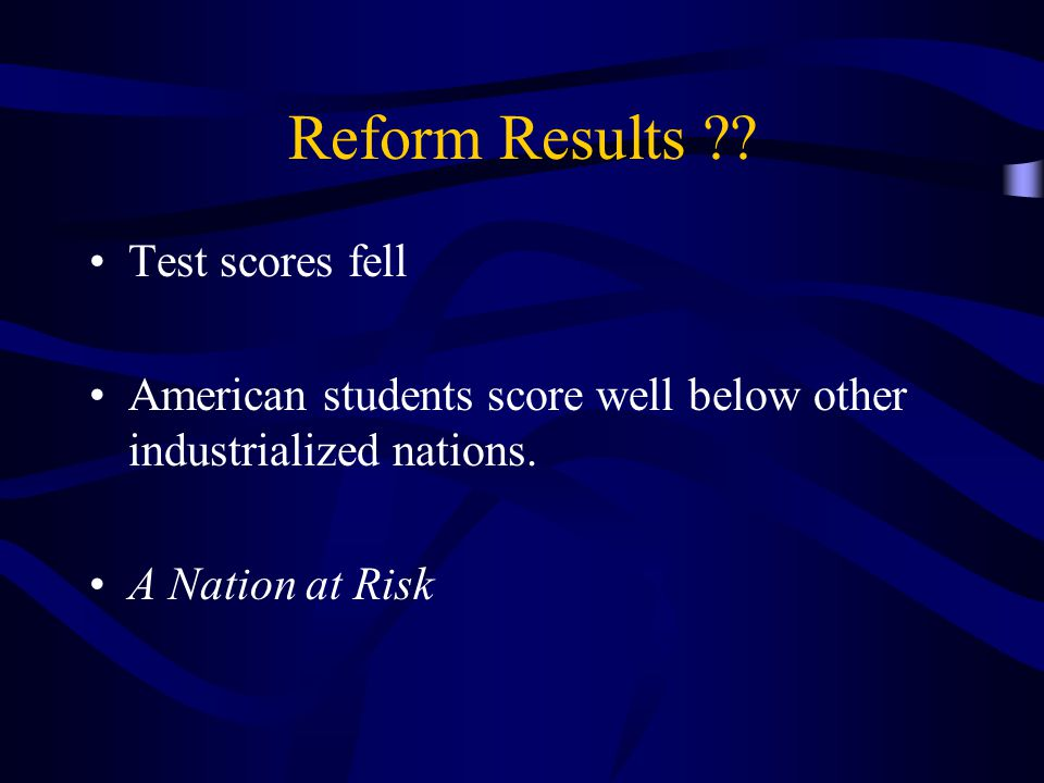 Reform Results . Test scores fell American students score well below other industrialized nations.