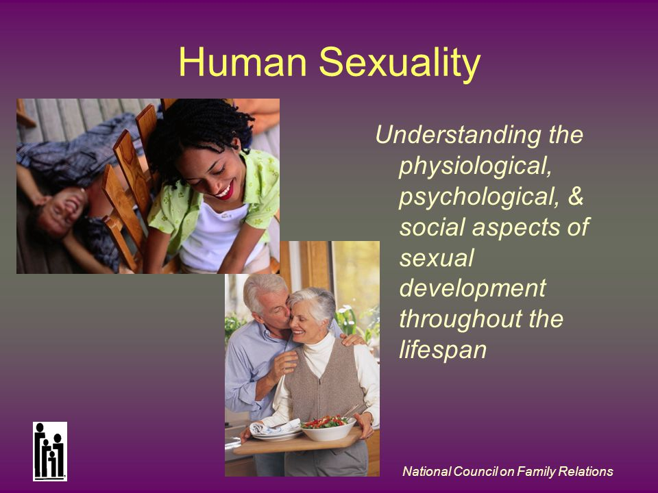National Council on Family Relations Human Sexuality Understanding the physiological, psychological, & social aspects of sexual development throughout the lifespan