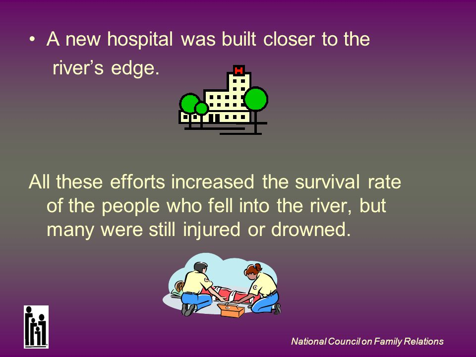 National Council on Family Relations A new hospital was built closer to the rivers edge. All these efforts increased the survival rate of the people w