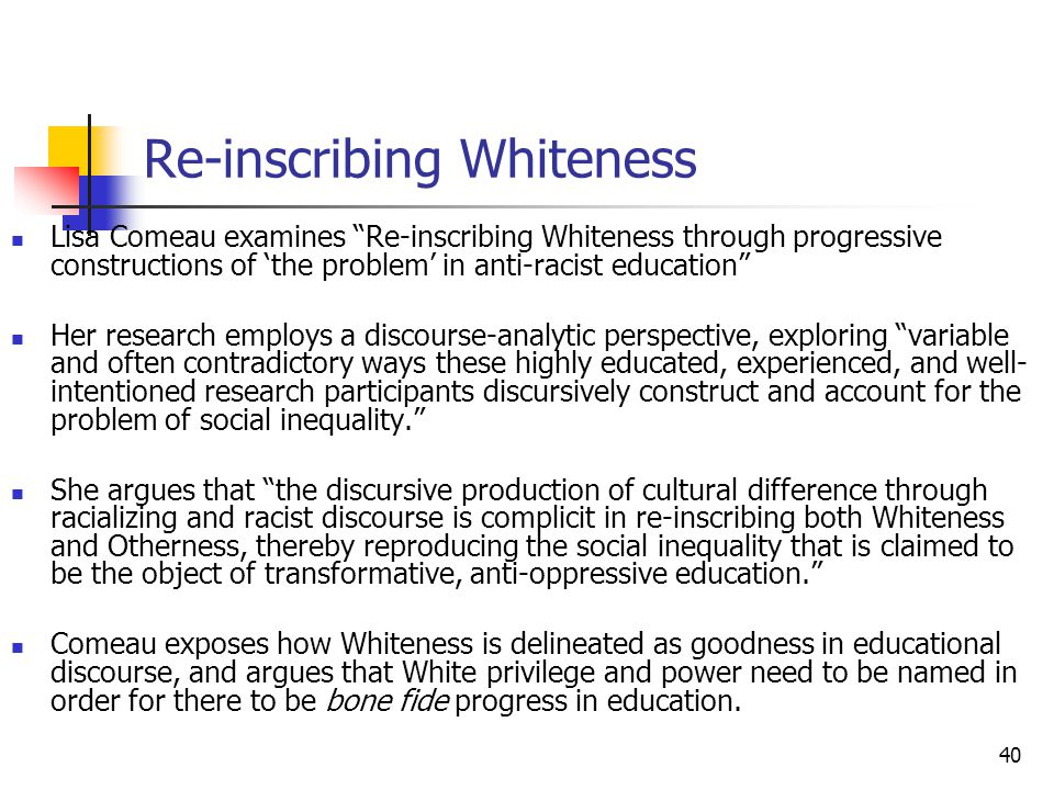 40 Re-inscribing Whiteness Lisa Comeau examines Re-inscribing Whiteness through progressive constructions of the problem in anti-racist education Her