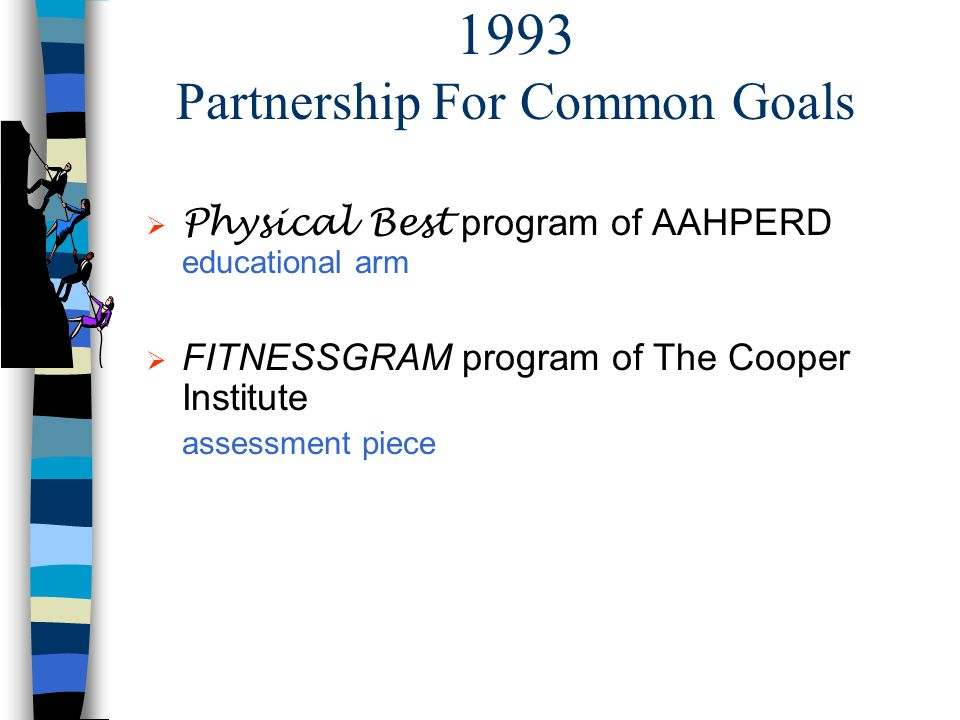 1993 Partnership For Common Goals Physical Best program of AAHPERD educational arm FITNESSGRAM program of The Cooper Institute assessment piece