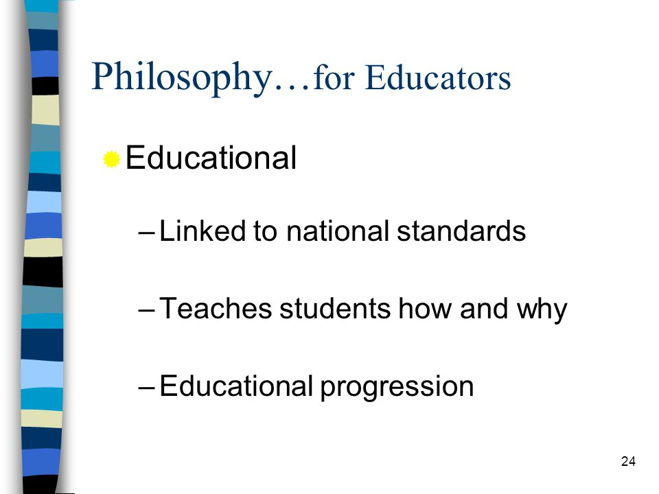 24 Philosophy… for Educators –Linked to national standards –Teaches students how and why –Educational progression Educational
