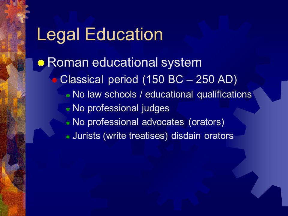Legal Education Roman educational system Classical period (150 BC – 250 AD) No law schools / educational qualifications No professional judges No professional advocates (orators) Jurists (write treatises) disdain orators