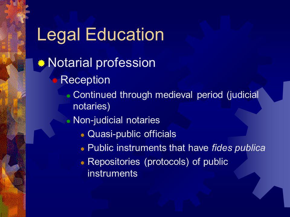 Legal Education Notarial profession Reception Continued through medieval period (judicial notaries) Non-judicial notaries Quasi-public officials Public instruments that have fides publica Repositories (protocols) of public instruments