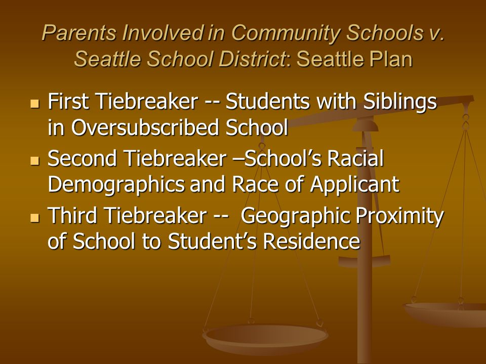 Parents Involved: Jefferson County Plan Based on Vacancies and Districts Racial Guidelines Designed to Ensure Racial Balance Based on Vacancies and Districts Racial Guidelines Designed to Ensure Racial Balance If Assignment Would Result in Racial Imbalance of School, Student Denied Enrollment in School If Assignment Would Result in Racial Imbalance of School, Student Denied Enrollment in School System Had Been Under Decree Until 2000 System Had Been Under Decree Until 2000