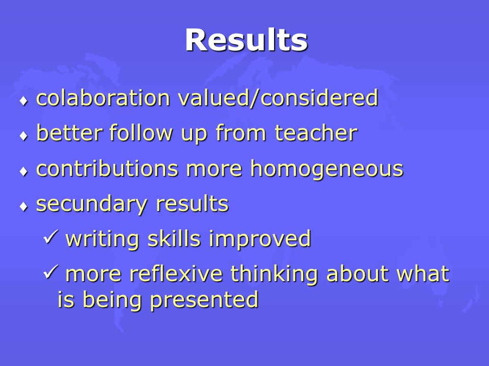 Conclusions Cognitive development improved Cognitive development improved development of better self- expression development of better self- expression help student to learn about how to work collaboratively help student to learn about how to work collaboratively stimulate problem solving critical thinking and collaborative analysis stimulate problem solving critical thinking and collaborative analysis learning through reflexive discussions learning through reflexive discussions
