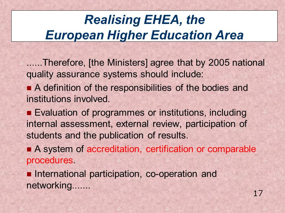 Realising EHEA, the European Higher Education Area......Therefore, [the Ministers] agree that by 2005 national quality assurance systems should includ