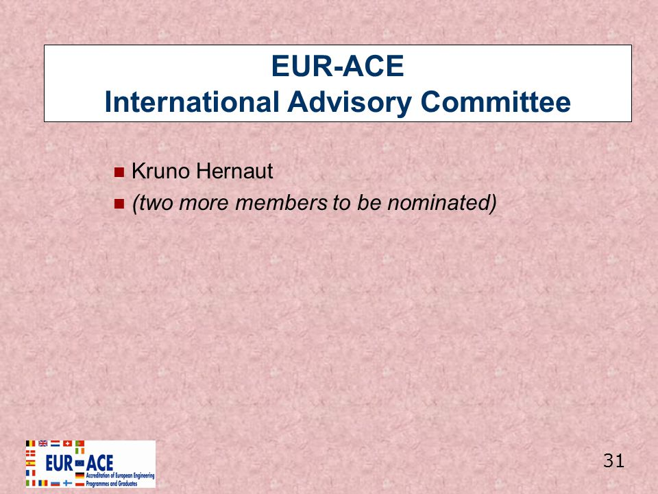 EUR-ACE International Advisory Committee Kruno Hernaut (two more members to be nominated) 31