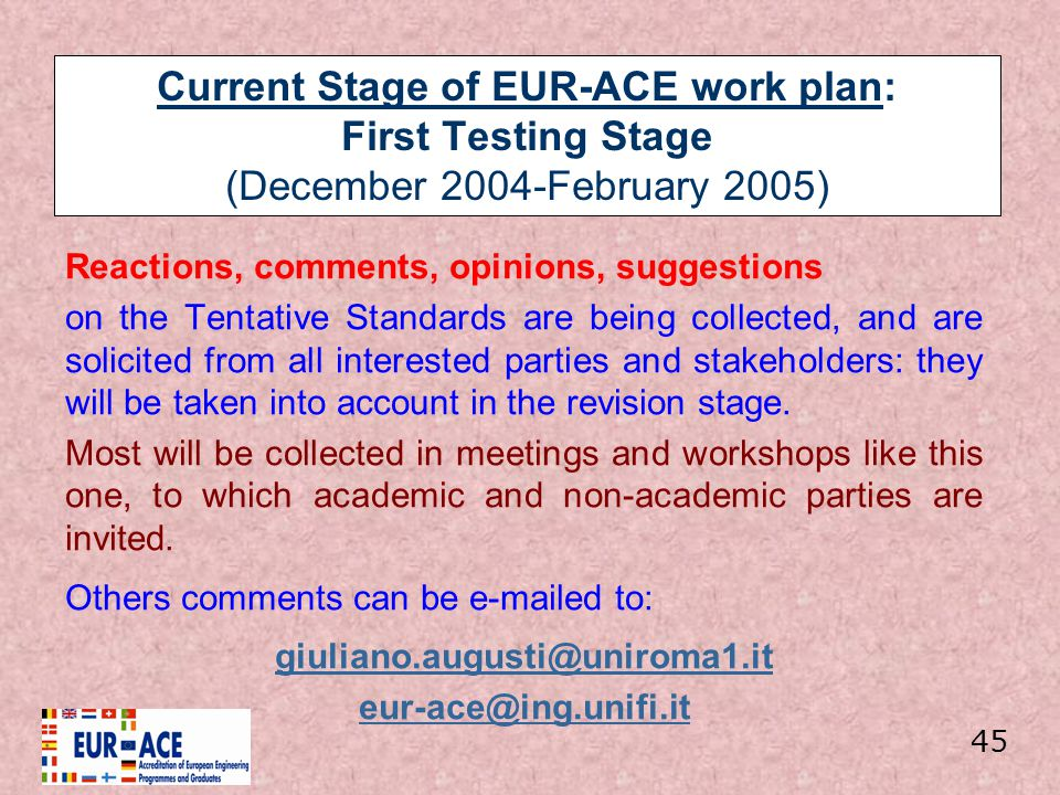 Current Stage of EUR-ACE work plan: First Testing Stage (December 2004-February 2005) Reactions, comments, opinions, suggestions on the Tentative Stan