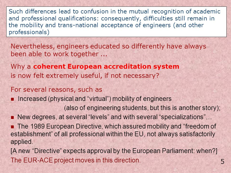 EUR-ACE Accreditation of European Engineering Programmes and Graduates Other Participating Institutions indicated in the application (2) 4.