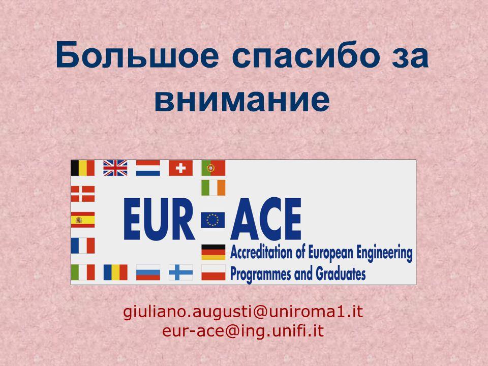 Большое спасибо за внимание giuliano.augusti@uniroma1.it eur-ace@ing.unifi.it