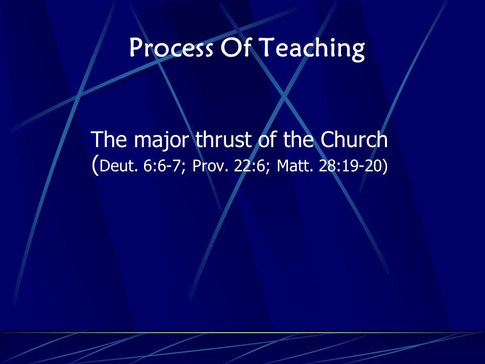 Process Of Teaching The major thrust of the Church ( Deut. 6:6-7; Prov. 22:6; Matt. 28:19-20)