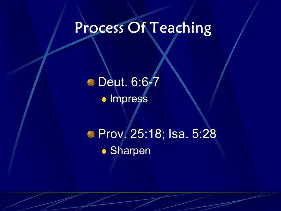 Process Of Teaching Deut. 6:6-7 Impress Prov. 25:18; Isa. 5:28 Sharpen