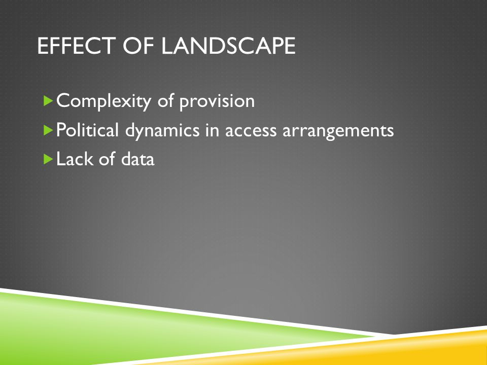 EFFECT OF LANDSCAPE Complexity of provision Political dynamics in access arrangements Lack of data