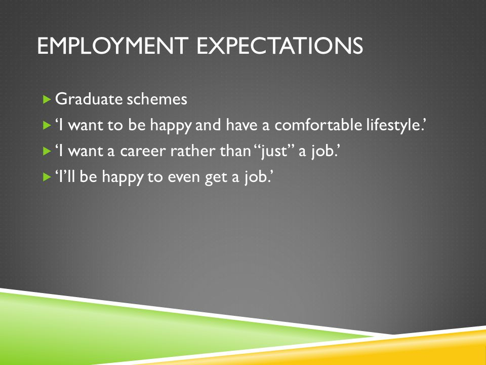 EMPLOYMENT EXPECTATIONS Graduate schemes I want to be happy and have a comfortable lifestyle.