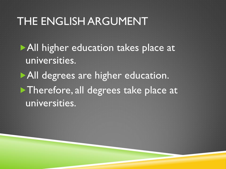 THE ENGLISH ARGUMENT All higher education takes place at universities.
