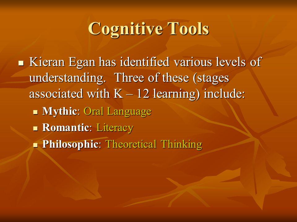 Cognitive Tools Kieran Egan has identified various levels of understanding.